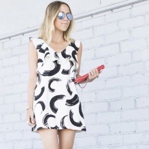 Anthropologie Deletta Wht/Blk Mini Dress